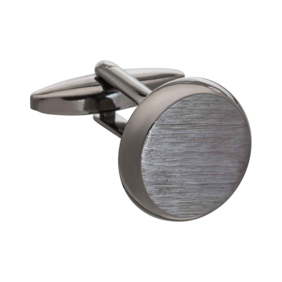 Brushed Gunmetal Smooth 'O' Cufflinks