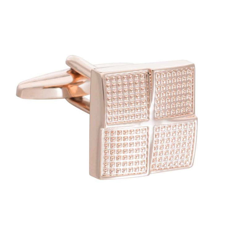 Rose Gold Textured Foursquare Cufflinks by Elizabeth Parker