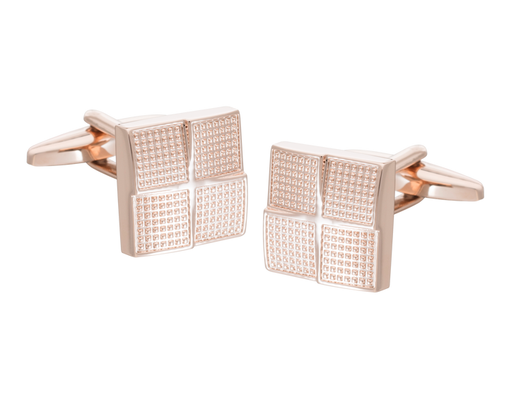 Rose Gold Textured Foursquare Cufflinks