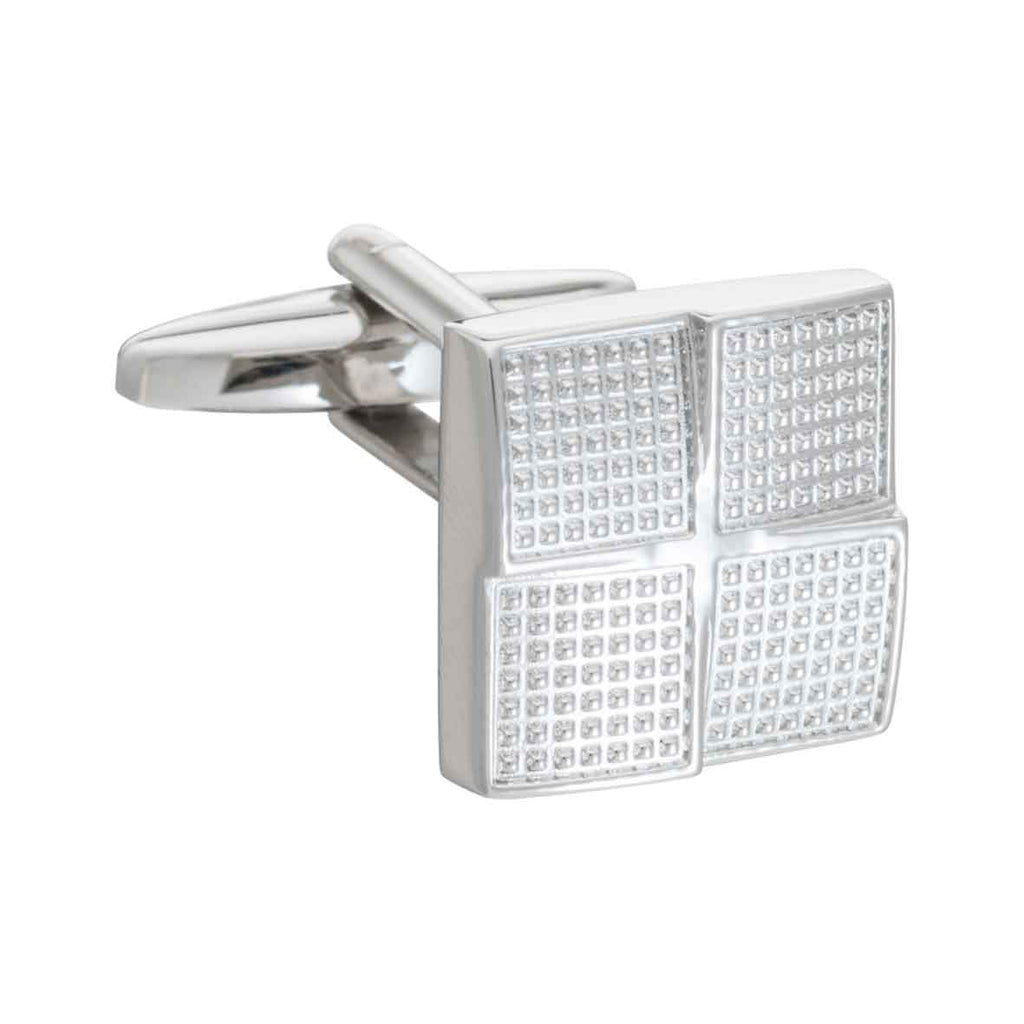 Simply Metal Textured Foursquare Cufflinks by Elizabeth Parker