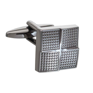 Gun Metal Textured Foursquare Cufflinks by Elizabeth Parker