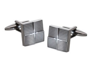 Gunmetal Textured Foursquare Cufflinks