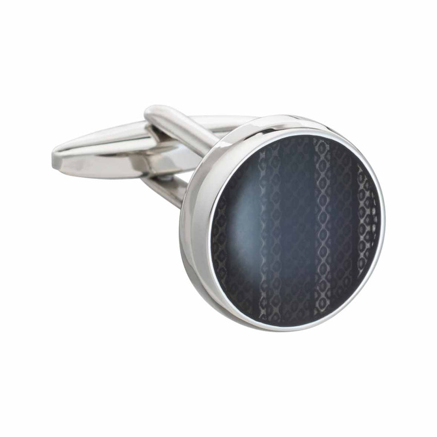 Marvell'O'us Round Black Enamel Cufflinks by Elizabeth Parker