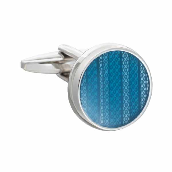 Marvell'O'us Round Blue Enamel Luxury Cufflinks by Elizabeth Parker