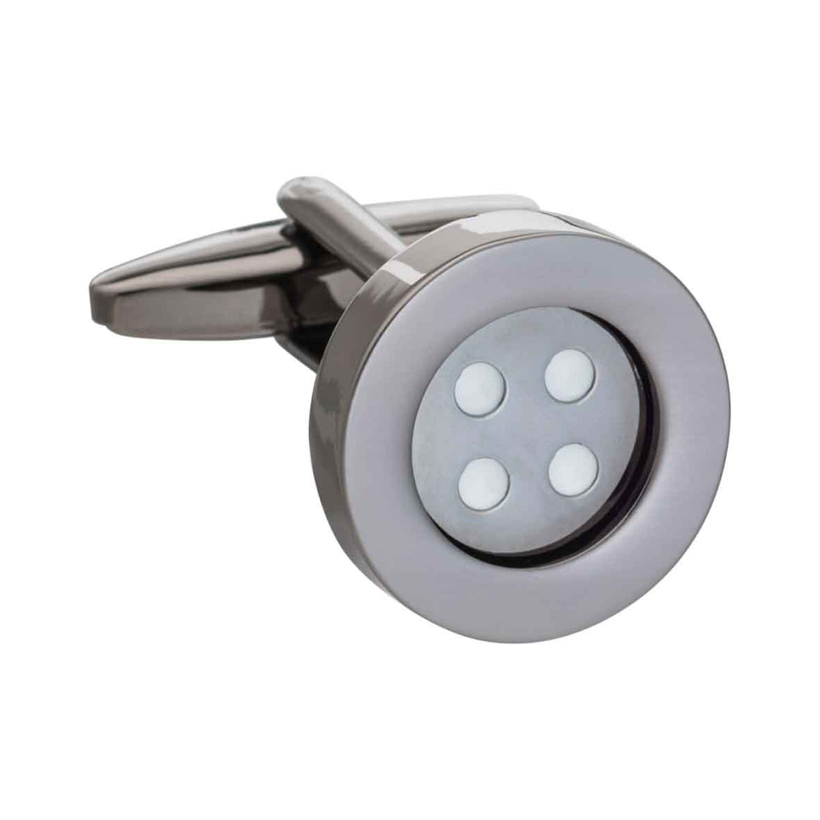 Gun Metal Classic Button Cufflinks by Elizabeth Parker