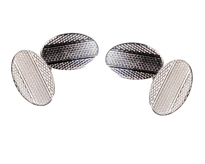 Classic Vintage Engraved Centre Stripe Chain Link Cufflinks