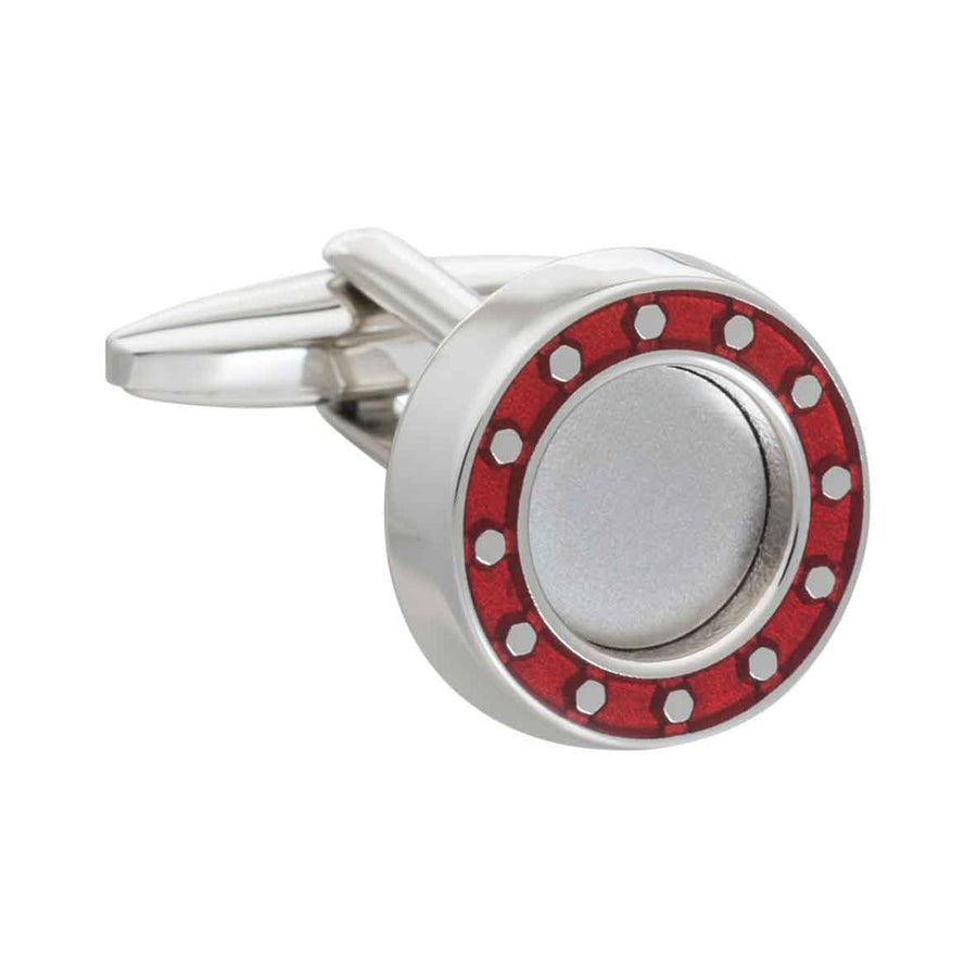 Industrial Core Round Red Cufflinks by Elizabeth Parker