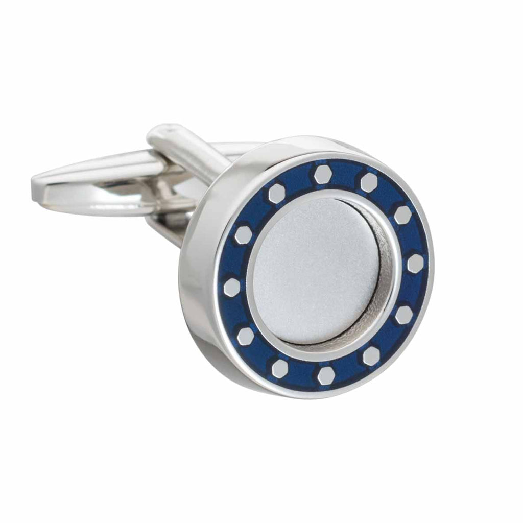 Blue Round Industrial Core Cufflinks by Elizabeth Parker