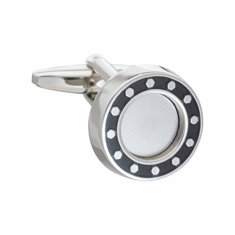 Industrial Core Round Black Cufflinks by Elizabeth Parker