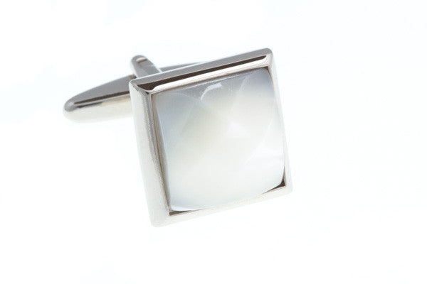 Faceted White Fibre Optic Glass Cufflinks Encased in a Square Polished Metal Body - AEPCL1005 (D) Elizabeth Parker England - Cufflinks, Tie Slides, Dress Studs, Lapel Pins, Blazer Crests, Collar Stays, & More Men's Accessories. Free shipping in the UK. Be the best dressed man in the room, with Elizabeth Parker accessories.