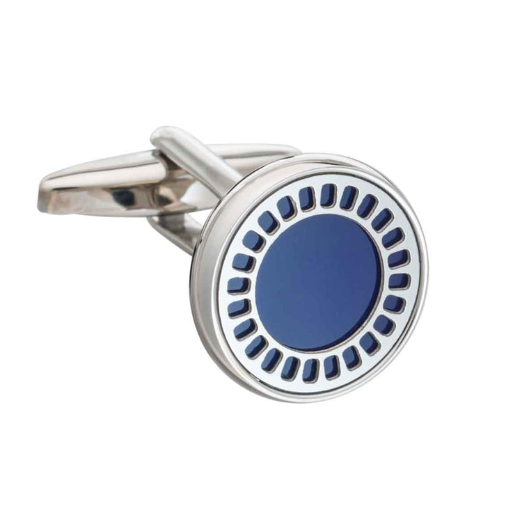 Round Synthetic Lapis Blue Film Reel Cufflinks by Elizabeth Parker