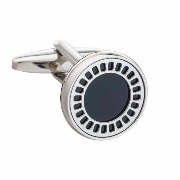 Round Black Onyx Film Reel Cufflinks by Elizabeth Parker