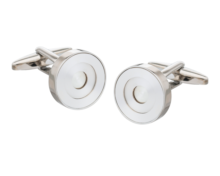 White Concentric Ring Cufflinks