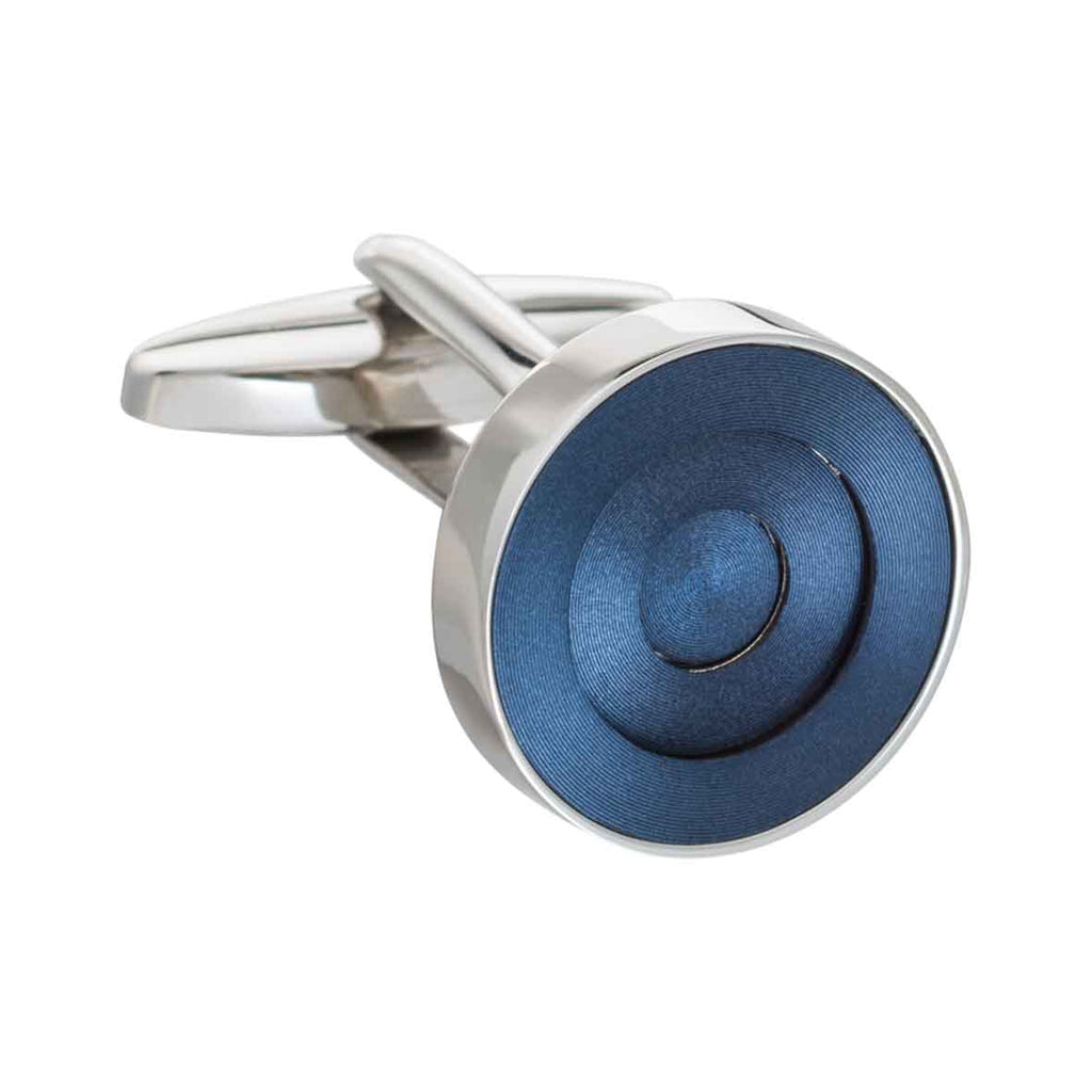 Navy Blue Concentric Ring Cufflinks by Elizabeth Parker