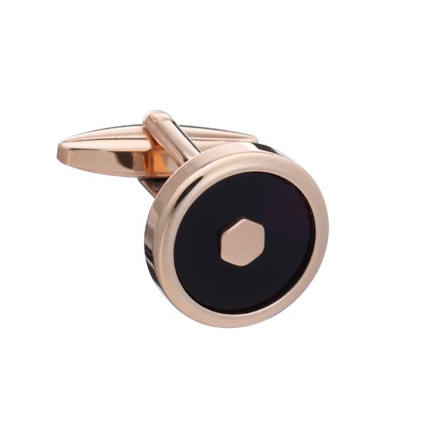 'Hexy Middle' Onyx Rose Gold Cufflinks