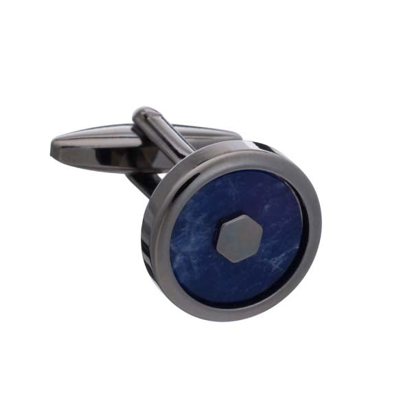 'Hexy Middle' Sodalite and Gunmetal Cufflinks