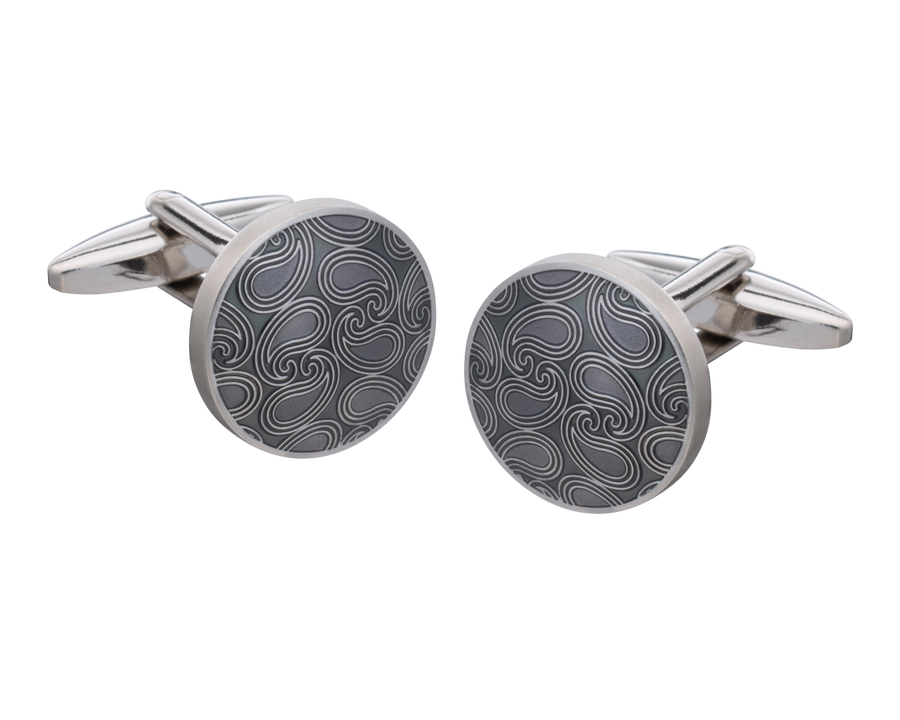 Shades of Grey Paisley Cufflinks