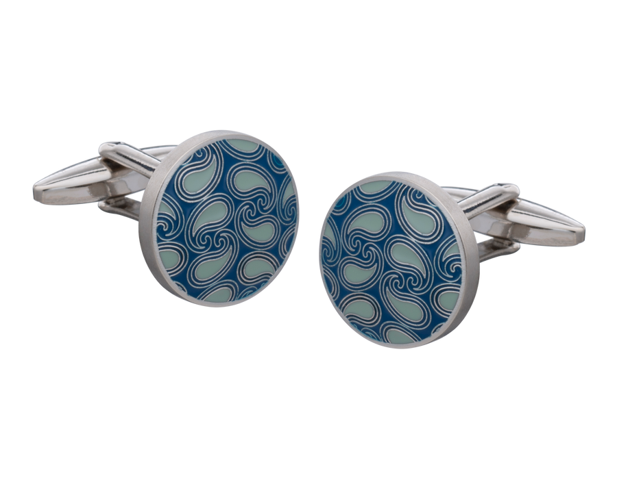 Shades of Blue Paisley Cufflinks