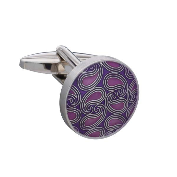Purple Enamel Paisley Pattern Round Cufflinks