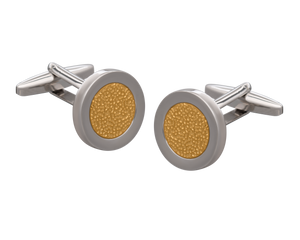 Hammered Metal Gold Centred Cufflinks