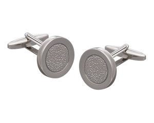Hammered Metal Silver Centred Cufflinks