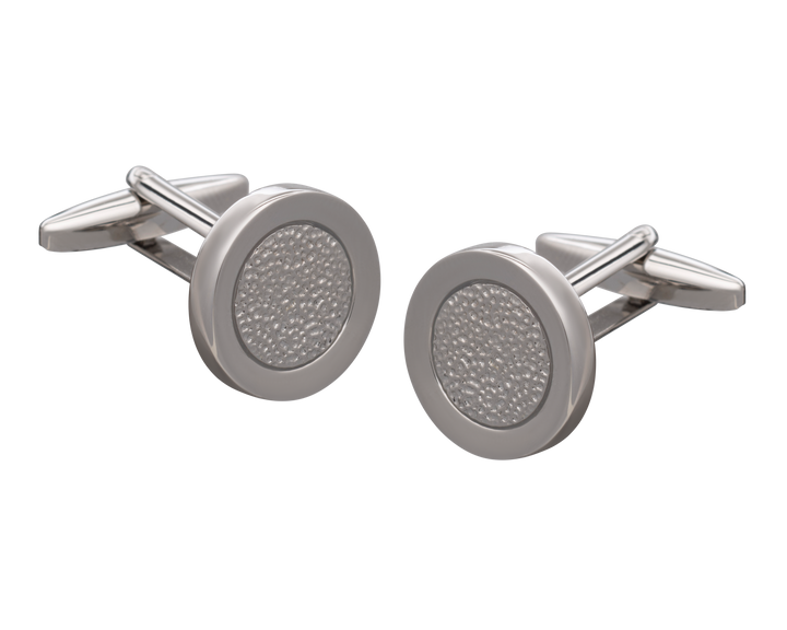 'Hammered Metal' Silver Centred Cufflinks