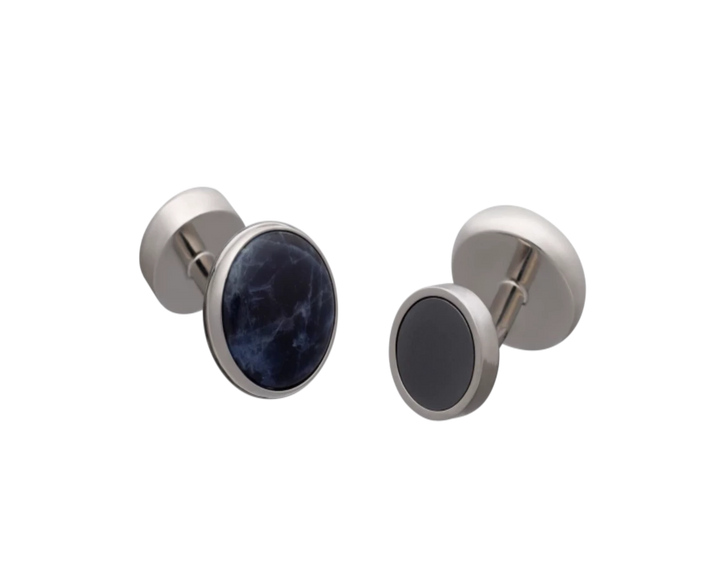 'All Change' Reversible Hematite Sodalite Cufflinks