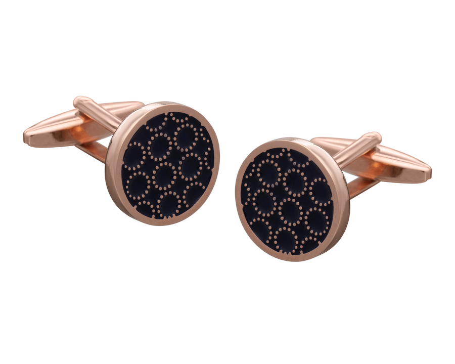 'Circle O' Navy Rose Gold Cufflinks