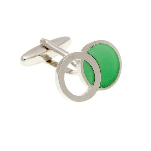 Interlinked Green Ring Cufflinks by Elizabeth Parker England