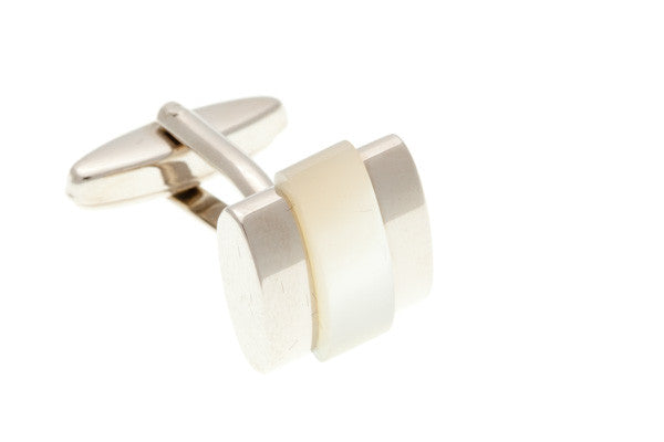 Mother Of Pearl Banded Semi Precious Stone Cufflinks - by Elizabeth Parker England