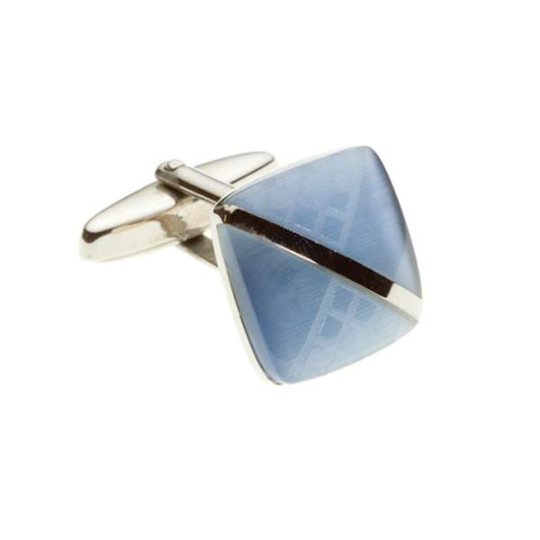 Sky Blue Square Cufflinks with Laser Engraved Diagonal Stripe by Elizabeth Parker England