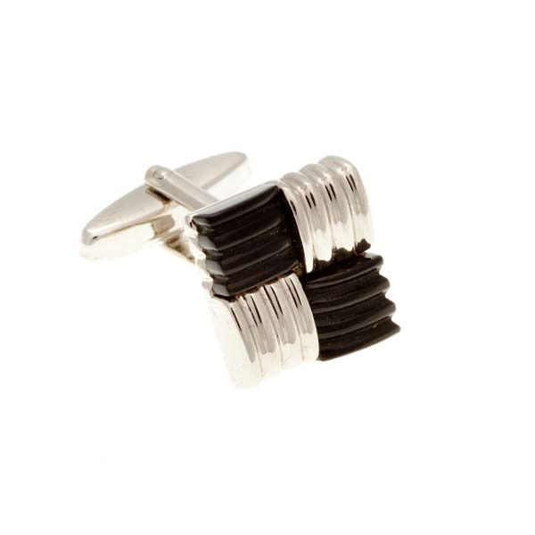 Square Knot Weave With Black Onyx Semi Precious Stone Cufflinks - by Elizabeth Parker England