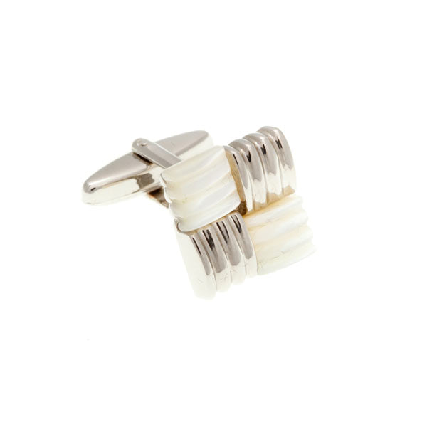 Square Knot Weave With Mother Of Pearl Semi Precious Stone Cufflinks by Elizabeth Parker England