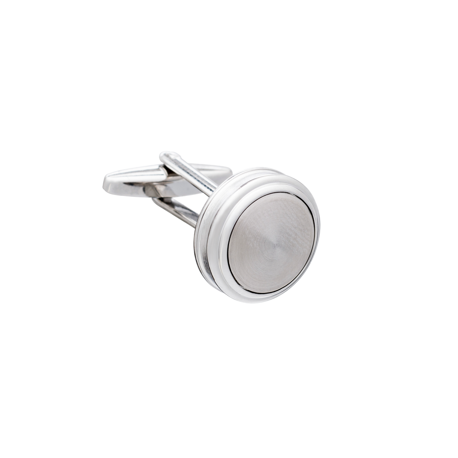 Barrelled Edge Turned Metal Cufflinks