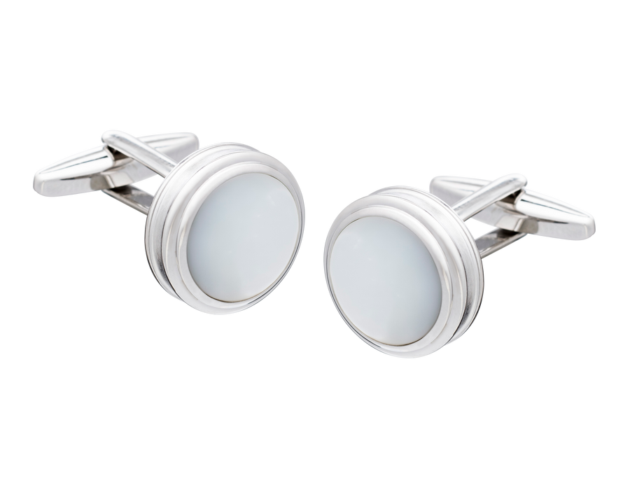Barrelled Edge Mother of Pearl Cufflinks