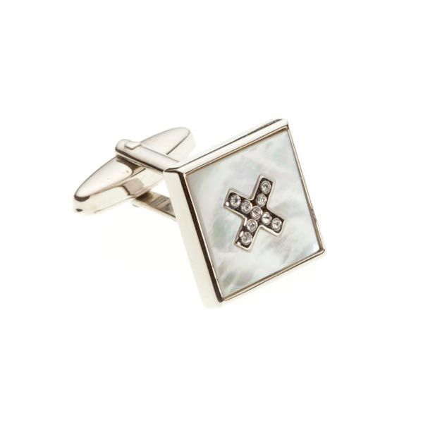 Mother Of Pearl Crystal Cross Semi Precious Stone Cufflinks - by Elizabeth Parker England