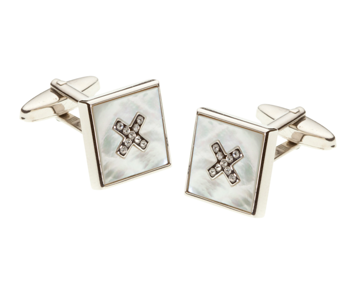 Mother Of Pearl Crystal Cross Square Cufflinks