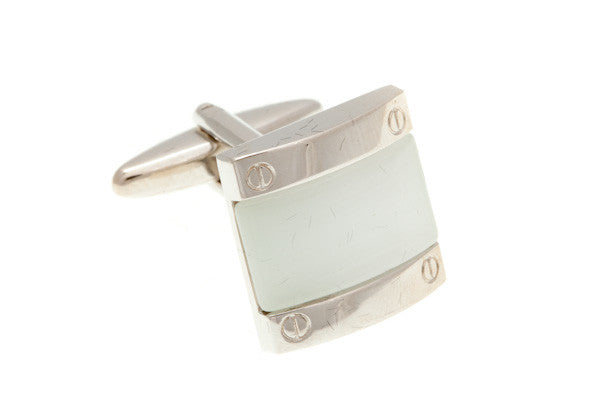 4 Screw White Fibre Optic Glass Cufflinks