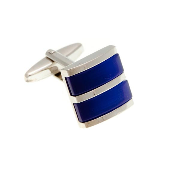 Double Colour Royal Blue Square Cufflinks by Elizabeth Parker England