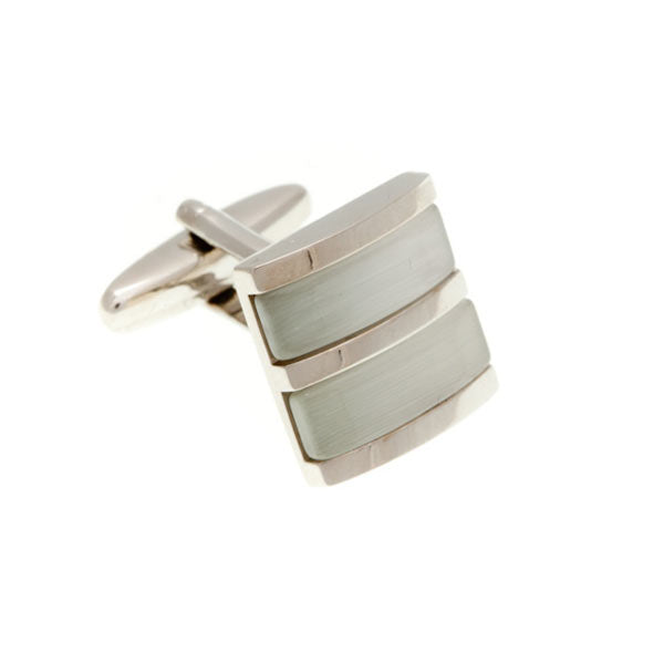 Double Colour White Square Cufflinks by Elizabeth Parker England