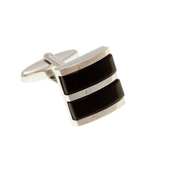 Double Colour Black Square Cufflinks by Elizabeth Parker England