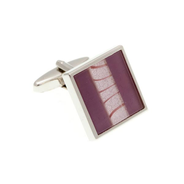 One Stripe Square Purple Cufflinks by Elizabeth Parker England
