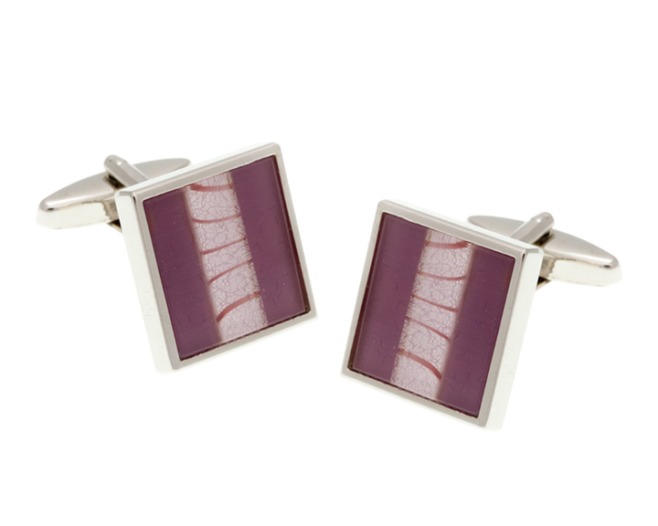 One Stripe Square Purple Cufflinks