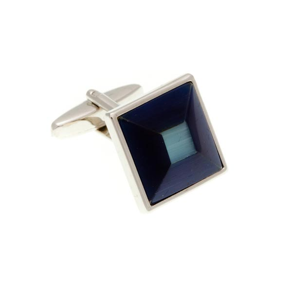 Navy Blue and Sky Blue Square Bevel Cufflinks by Elizabeth Parker England