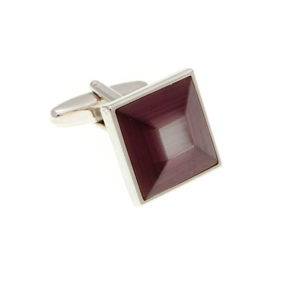 Purple and Light Purple Square Bevel Cufflinks by Elizabeth Parker England