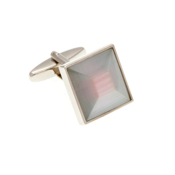 White and Pink Square Bevel Cufflinks by Elizabeth Parker England