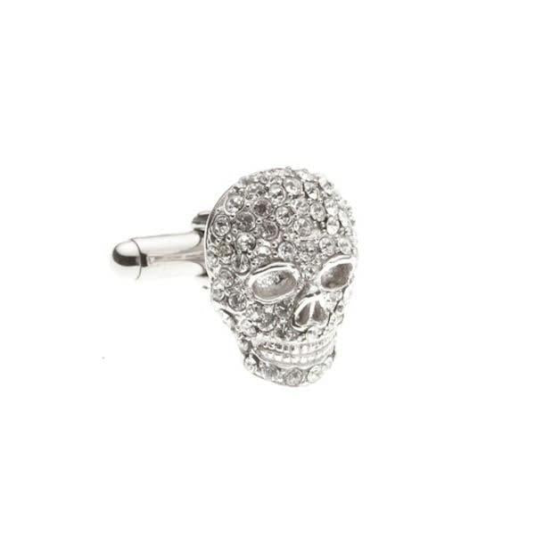 Clear Crystal Skull Cufflinks by Elizabeth Parker
