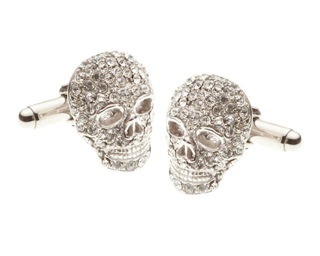 Mad & Bad Clear Crystal Skull Cufflinks