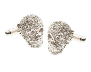 Mad & Bad Clear Crystal Skull Lapel Pin