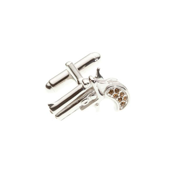 Mad & Bad Crystal Pistol Smokey Novelty Crystal Cufflinks - by Elizabeth Parker England